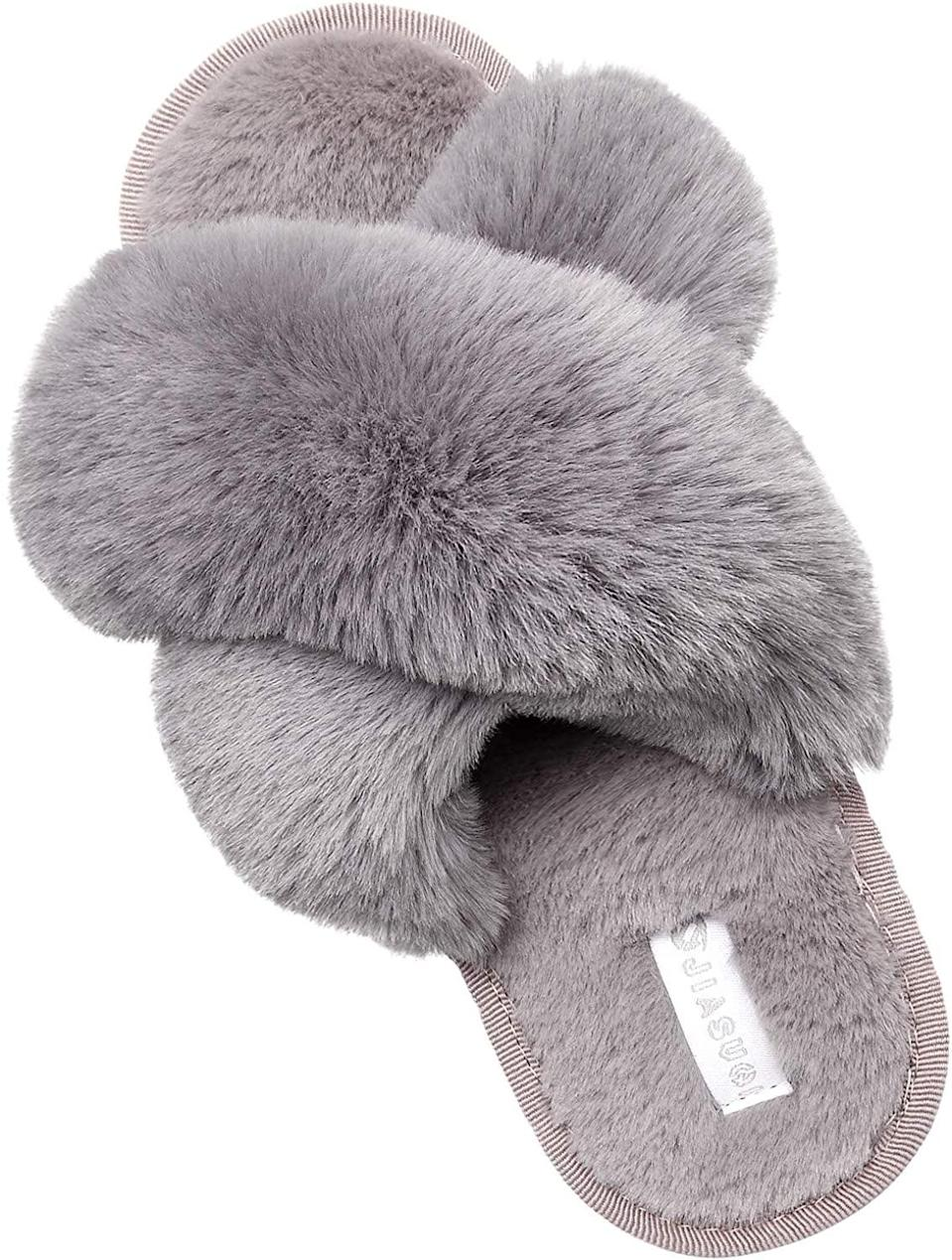 <p>These <span>Jiasuqi Cross Open Toe Fuzzy Fluffy House Slippers</span> ($23) are so cozy and comfortable yet look so classy and bougie.</p>