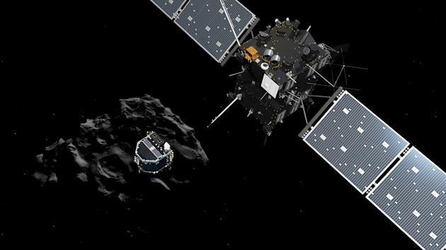 An artist's rendering shows Philae separating from Rosetta and descending to the comet. (AP/ESA)