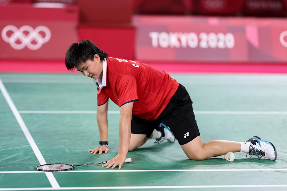 CHOFU, JAPAN - AUGUST 01: He Bing Jiao of Team China reacts as she competes against Pusarla V. Sindhu of Team India during the Women's Singles Bronze Medal match on day nine of the Tokyo 2020 Olympic Games at Musashino Forest Sport Plaza on August 01, 2021 in Chofu, Tokyo, Japan. (Photo by Lintao Zhang/Getty Images)