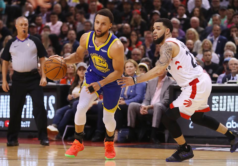Stephen Curry #30 of the Golden State Warriors is defended by Fred VanVleet #23 of the Toronto Raptors in the second quarter during Game One of the 2019 NBA Finals at Scotiabank Arena on May 30, 2019 in Toronto, Canada. (Photo by Gregory Shamus/Getty Images)