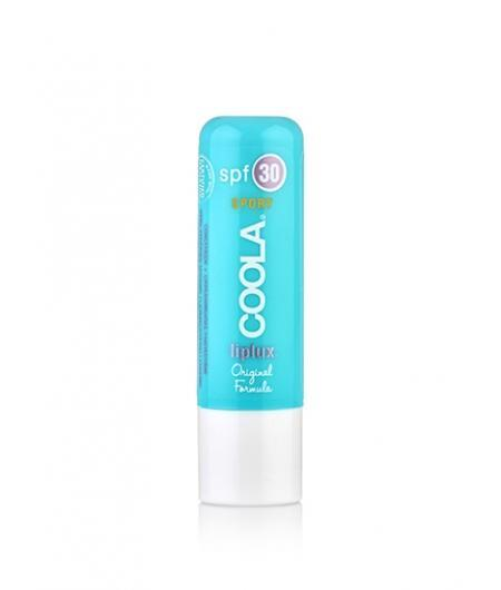 This lip treatment is enhanced with fruit butters like raspberry and avocado. It's a bit waxy on application but not sticky, and it lasts through an afternoon in the sand and surf. Coola SPF Liplux SPF 30 ($12)