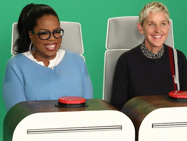 "Oprah films a segment for ""The Ellen DeGeneres Show."" (Photo: Michael Rozman/Warner Bros.)"