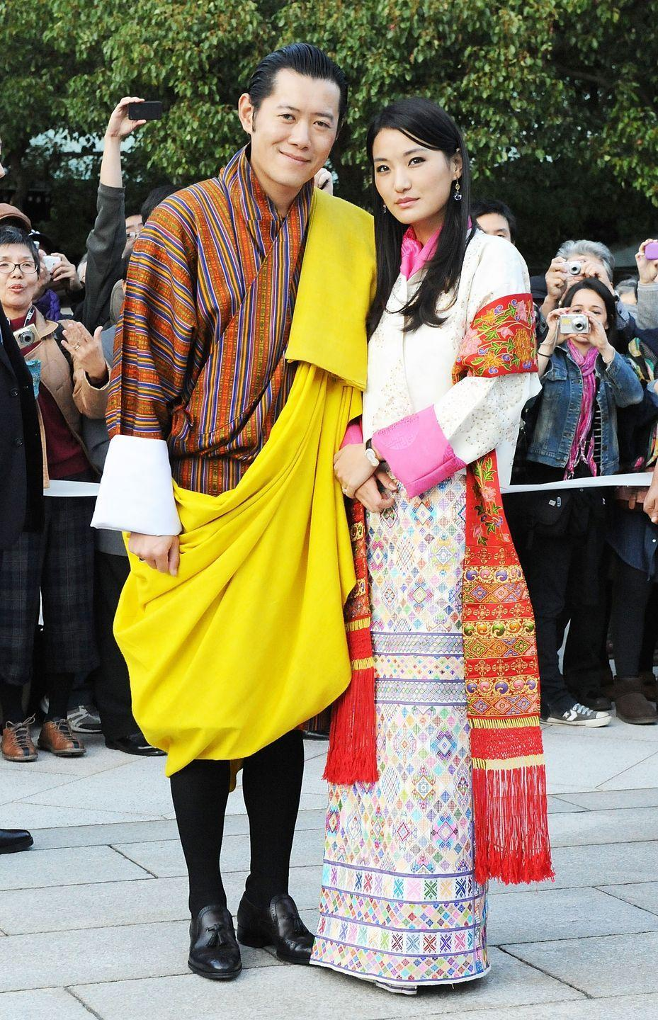 "<p>King Jigme Khesar Namgyel Wangchuck, 40, and his wife Jetsun Pema, 29, first met when she was just 7 years old at a picnic. Although Jetsun Pema is considered a commoner, her family has many connections with the royal family and it's said that at the picnic, she <a href=""http://www.worldofbuzz.com/real-life-cinderella-story/"" rel=""nofollow noopener"" target=""_blank"" data-ylk=""slk:innocently confessed her love"" class=""link rapid-noclick-resp"">innocently confessed her love</a> for the dashing prince. Her childish confession caught the prince's heart and he promised that when she grew up and if they were both single and in love, he would marry her. The two later married in 2011, and gave birth to a son in 2016.</p>"