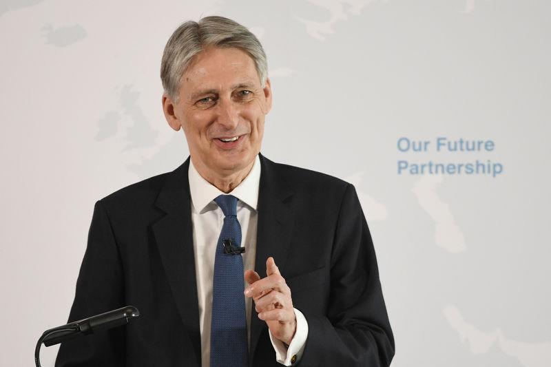 Britain's Finance Minister Philip Hammond delivers a speech on Brexit at HSBC's headquarters in Canary Wharf in London