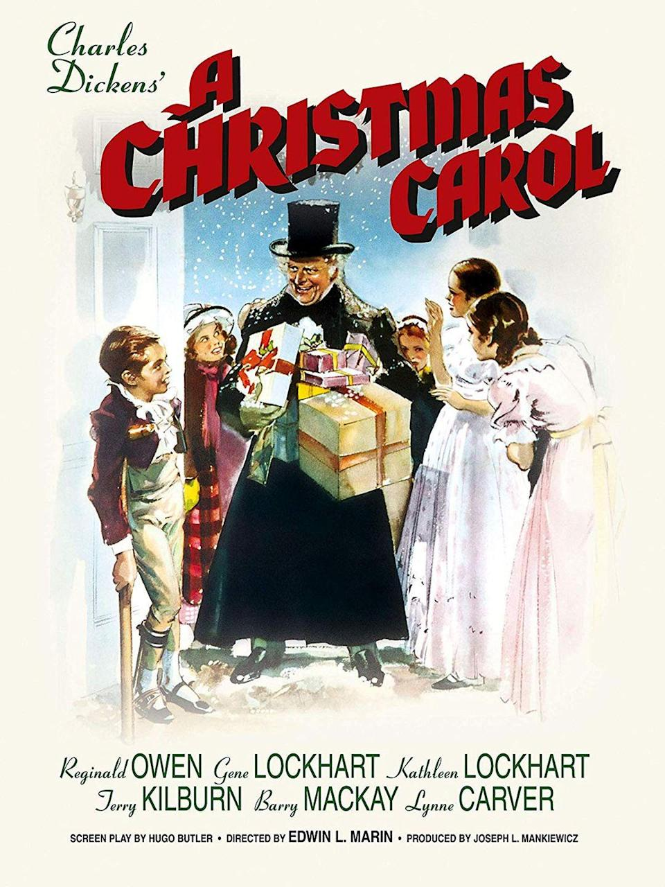 """<p>This 1938 movie is one of the earlier (and better) full-length film adaptations of the Charles Dickens classic.</p><p><a class=""""link rapid-noclick-resp"""" href=""""https://www.amazon.com/Christmas-Carol-Gene-Lockhart/dp/B002B2D9M6/?tag=syn-yahoo-20&ascsubtag=%5Bartid%7C10055.g.1315%5Bsrc%7Cyahoo-us"""" rel=""""nofollow noopener"""" target=""""_blank"""" data-ylk=""""slk:WATCH NOW"""">WATCH NOW</a></p>"""