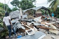 A destroyed home is viewed after the earthquake near Camp-Perrin, Haiti on August 16, 2021