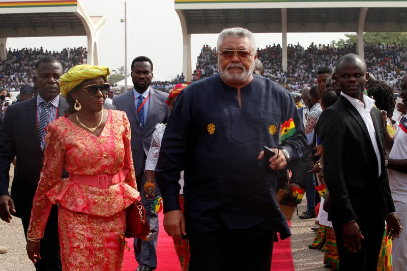 FILE PHOTO: Ghana's former President Jerry Rawlings arrives for the the swearing-in of Ghana's new President Nana Akufo-Addo in Accra