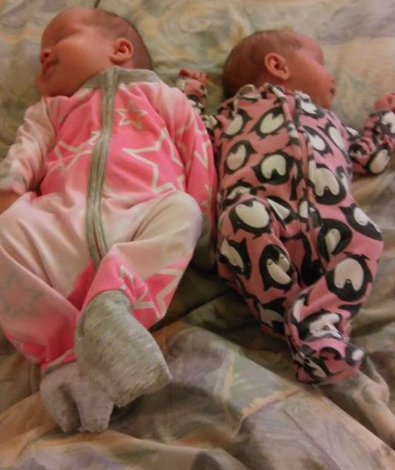 Despite being twins, one of the baby girls, Harlow, on the left, is much bigger than her sister Harper. Photo: Facebook