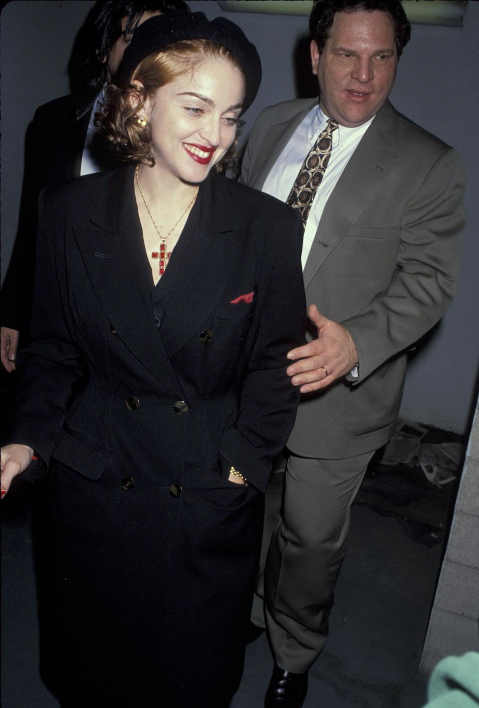 """Madonna at the premiere of """"Hear My Song"""" in 1991, which Harvey Weinstein's Miramax distributed.  (Photo: Jim Smeal/WireImage)"""