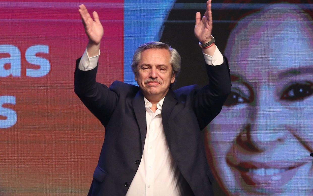 Presidential candidate Alberto Fernandez celebrates his victory after election results in Buenos Aires - REUTERS