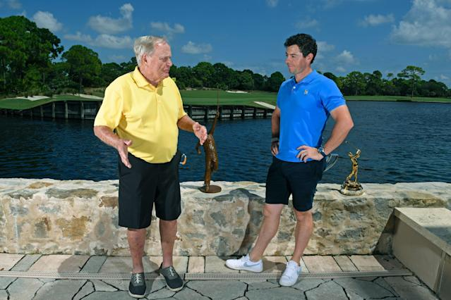 """<div class=""""caption""""> Nicklaus relishes the chance to mentor younger players, including McIlroy, who have sought him out for advice. </div> <cite class=""""credit"""">Tracy Wilcox</cite>"""