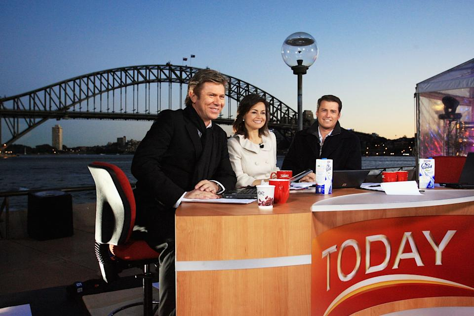 Presenters Richard Wilkins, Lisa Wilkinson and Karl Stefanovic  present live on-air as part of the Today Show 25th birthday celebrations outside the Sydney Opera House on June 28, 2007 in Sydney, Australia.