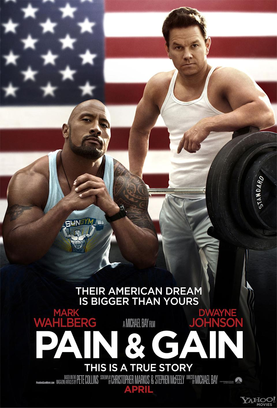 """Mark Wahlberg and Dwayne Johnson star in Paramount Pictures' """"Pain & Gain"""" - 2013<br> <a href=""""http://l.yimg.com/os/251/2012/12/07/Pain-Gainposter-watermark-jpg_235517.jpg"""" rel=""""nofollow noopener"""" target=""""_blank"""" data-ylk=""""slk:View full size >>"""" class=""""link rapid-noclick-resp"""">View full size >></a>"""