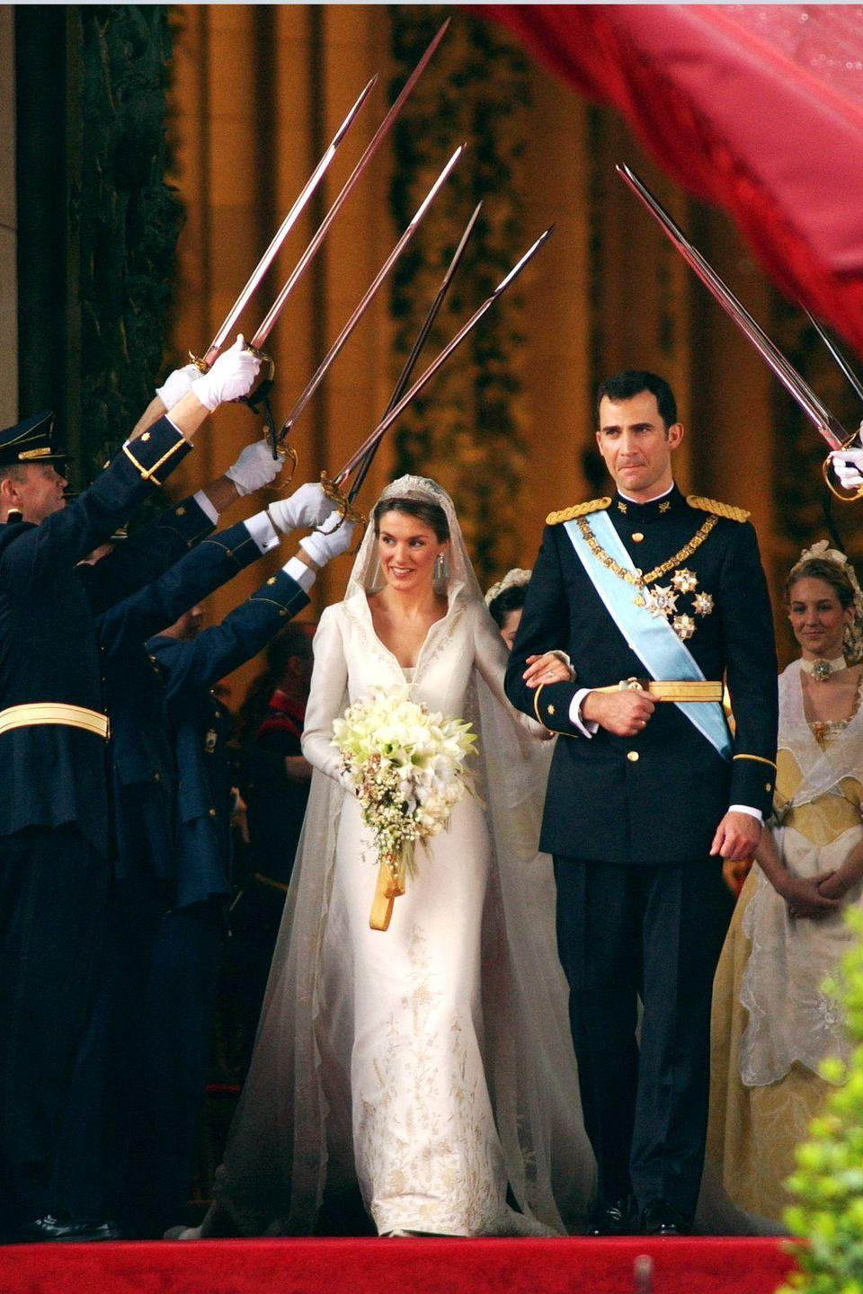 <p>King Felipe met Letizia Ortiz Rocasolano in 2002, when she was on assignment as a journalist for CNN, reporting on an oil slick on the shoreline of Galicia. Letizia was there to report on the disaster, while Felipe was there to visit those affected. The pair connected and were married in 2004; they now have two daughters together.</p>