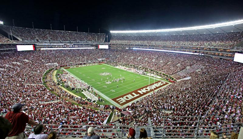 Wide view of Bryant Denny stadium during the second half of an NCAA college football game between Alabama and Mississippi, Saturday, Sept. 19, 2015, in Tuscaloosa, Ala. (AP Photo/Butch Dill)