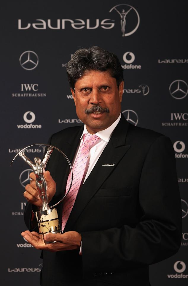 LONDON, ENGLAND - FEBRUARY 06: Academy member Kapil Dev poses in the Winners Studio during the 2012 Laureus World Sports Awards at Central Hall Westminster on February 6, 2012 in London, England.  (Photo by Tom Shaw/Getty Images for Laureus)