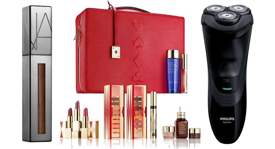 NARS Powermatte Lip Luster (Now £6.50) from Space NK, Estée Lauder Limited Edition Beauty Collection (Now £98.70) from Debenhams, Philips Wet & Dry Men's Electric Shaver (Now £54.99) from Boots.