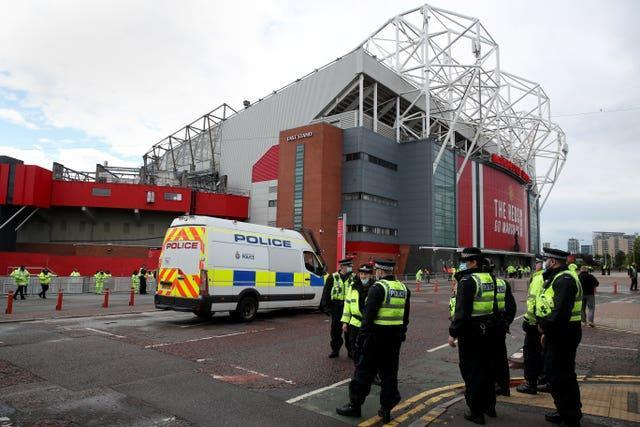 Extra security was in place for Tuesday's match against Leicester at Old Trafford