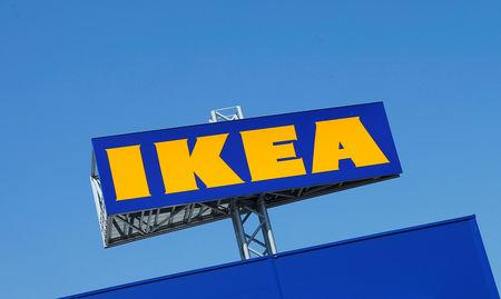 FILE PHOTO: The logo of IKEA is seen above a store in Voesendorf