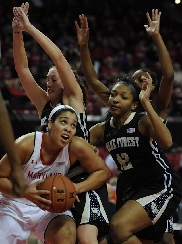 Maryland's Brianna Jones, left, drives to the basket as Wake Forest's Kandice Ball, right, defends in the second half of an NCAA college basketball game on Thursday, Jan 9, 2014, in College Park, Md. Maryland won 76-49.(AP Photo/Gail Burton)