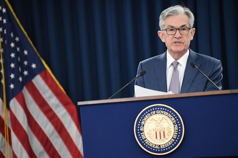 US Federal Reserve Chairman Jerome Powell gives a press briefing after the surprise announcement the FED will cut interest rates on March 3, 2020 in Washington,DC. - The US Federal Reserve announced an emergency rate cut Tuesday, responding to the growing economic risk posed by the coronavirus epidemic and giving President Donald Trump the stimulus he has called for. In a unanimous decision, the Fed's policy-setting committee slashed its key interest rate by a half point to a range of 1.0-1.25. (Photo by Eric BARADAT / AFP) (Photo by ERIC BARADAT/AFP via Getty Images)