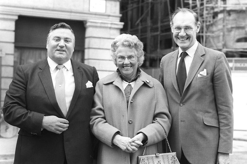 Tory MP Geoffrey Dickens, clean-up campaigner Mary Whitehouse and self-appointed undercover spy Charles Oxley, who inflitrated the Paedophile Information Exchange (PIE), in London. Mr Oxley has campaigned for the prosecution of PIE. (Photo by PA Images via Getty Images)