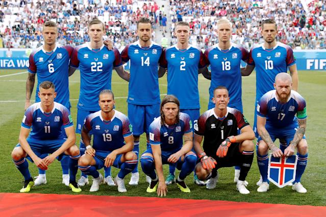 Soccer Football - World Cup - Group D - Nigeria vs Iceland - Volgograd Arena, Volgograd, Russia - June 22, 2018 Iceland players pose for a team group photo before the match REUTERS/Jorge Silva