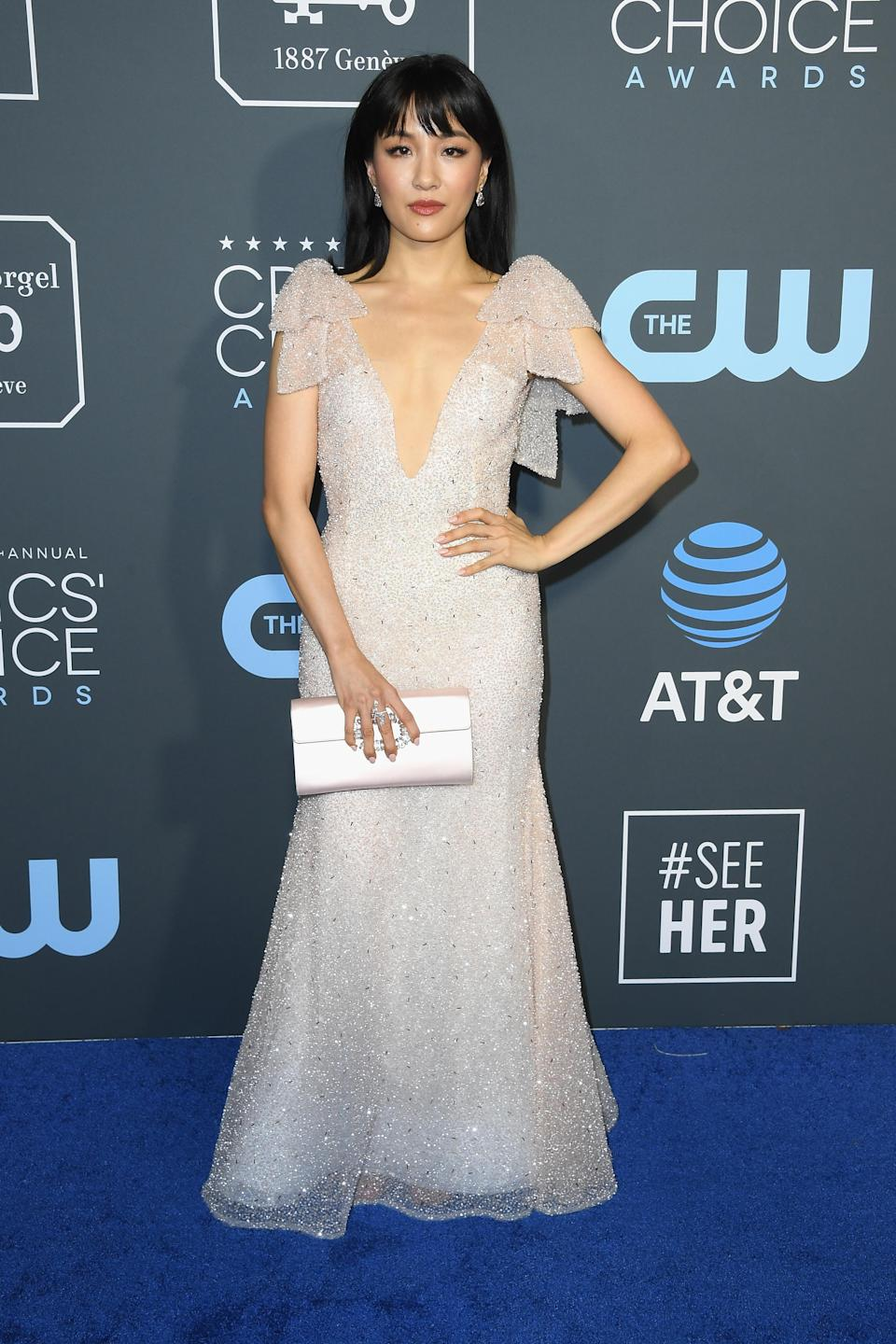<p>Crazy Rich Asians actress Constance Wu wore a nude embellished gown, paired with a satin clutch. Source: Getty </p>
