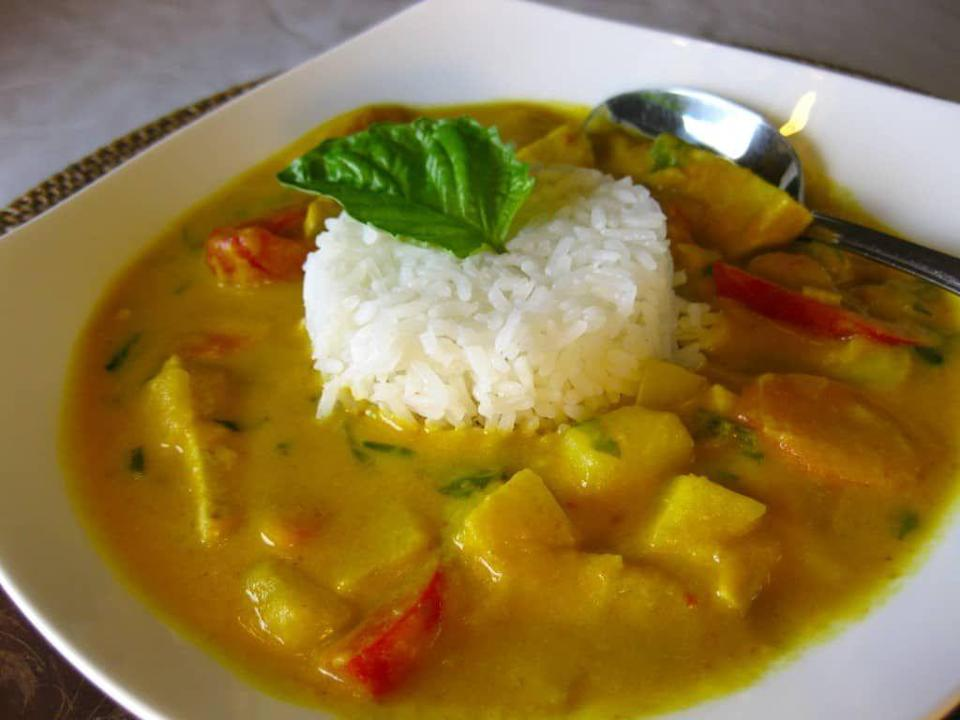 "<p>Get the <a href=""https://veganyumminess.com/pumpkin-tofu-curry/"" rel=""nofollow noopener"" target=""_blank"" data-ylk=""slk:Vegan Pumpkin Tofu Curry"" class=""link rapid-noclick-resp"">Vegan Pumpkin Tofu Curry</a> recipe.</p><p>Recipe from <a href=""https://veganyumminess.com/"" rel=""nofollow noopener"" target=""_blank"" data-ylk=""slk:Vegan Yumminess"" class=""link rapid-noclick-resp"">Vegan Yumminess</a>. </p>"