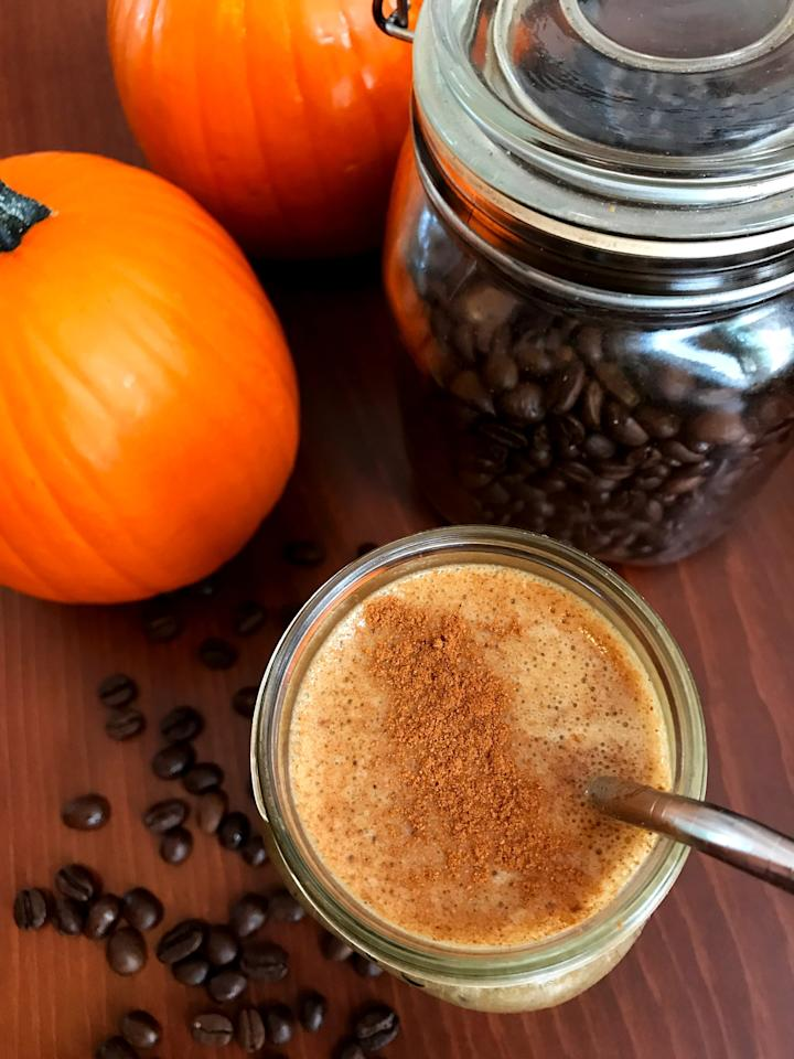 """<p><a href=""""https://www.popsugar.com/fitness/How-Make-Pumpkin-Spice-Latte-Healthier-Starbucks-43907157"""" class=""""ga-track"""" data-ga-category=""""Related"""" data-ga-label=""""http://www.popsugar.com/fitness/How-Make-Pumpkin-Spice-Latte-Healthier-Starbucks-43907157"""" data-ga-action=""""In-Line Links"""">Pumpkin spice lattes</a> are the epitome of Fall. Now, you can enjoy the same flavor in a protein-packed drink (17 grams!) - you'll actually be using cooled black coffee for this recipe. This smoothie also features pumpkin puree, a frozen banana, soy milk, vanilla protein powder, flaxmeal, pumpkin pie spice, and cinnamon. Oh, and it's vegan!</p> <p><strong>Get the recipe:</strong> <a href=""""https://www.popsugar.com/fitness/Pumpkin-Spice-Latte-Protein-Smoothie-44075740"""" class=""""ga-track"""" data-ga-category=""""Related"""" data-ga-label=""""http://www.popsugar.com/fitness/Pumpkin-Spice-Latte-Protein-Smoothie-44075740"""" data-ga-action=""""In-Line Links"""">pumpkin spice latte protein smoothie</a></p>"""