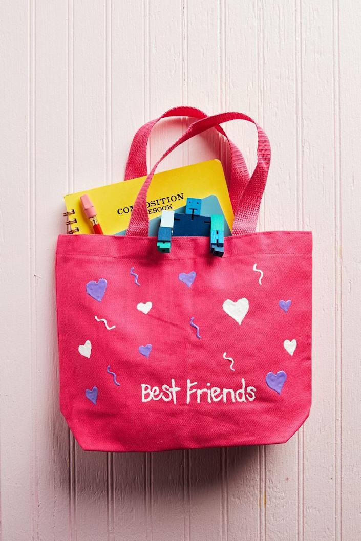 """<p>The little ones will love giving this tote to their dear friends on this February 14. <br></p><p><strong>To make: </strong>Use puff paint to draw designs and write a sweet note on a small tote bag. Allow to dry completely.</p><p><a class=""""link rapid-noclick-resp"""" href=""""https://www.amazon.com/Castle-Art-Supplies-Fabric-Paint/dp/B07531MSVC/ref=sr_1_2_sspa?tag=syn-yahoo-20&ascsubtag=%5Bartid%7C10050.g.1584%5Bsrc%7Cyahoo-us"""" rel=""""nofollow noopener"""" target=""""_blank"""" data-ylk=""""slk:SHOP PUFF PAINT"""">SHOP PUFF PAINT</a></p>"""