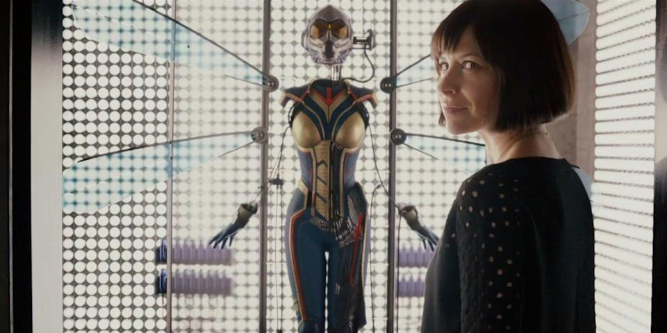 Evangeline Lilly gets ready to suit up as the Wasp (Disney).