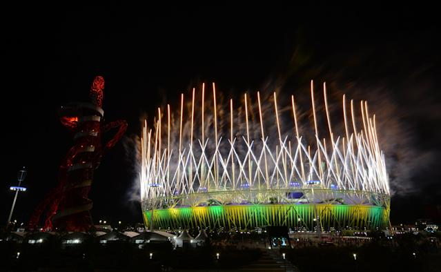 fireworks display at Olympic Stadium is seen during the Closing Ceremony for the 2012 Summer Olympic Games on August 12, 2012 in London, England. (Photo by Lars Baron/Getty Images)