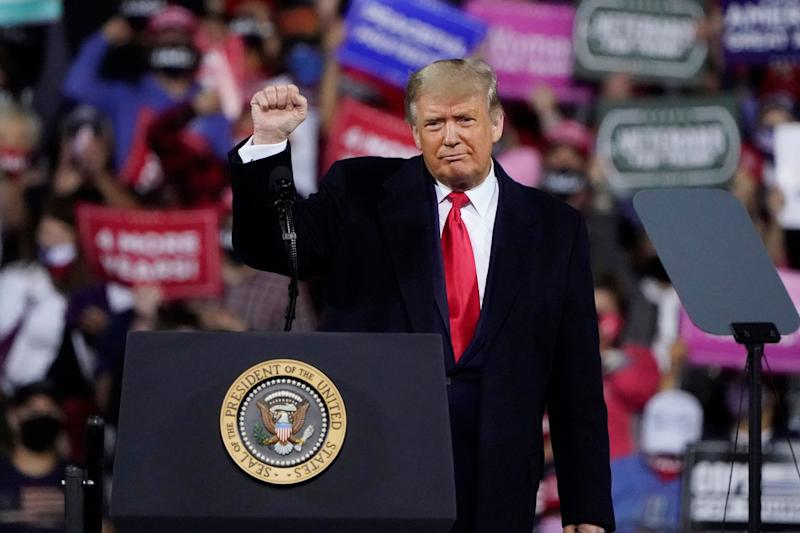 President Donald Trump wraps up his speech at a campaign rally at Fayetteville Regional Airport, Saturday, Sept. 19, 2020, in Fayetteville, N.C. (AP Photo/Chris Carlson) (Photo: ASSOCIATED PRESS)