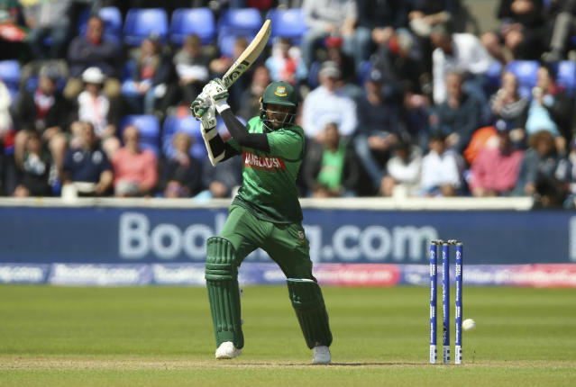 Bangladesh's Shakib Al Hasan in action during the ICC Cricket World Cup group stage match between England and Bangladesh at the Cardiff Wales Stadium in Cardiff, Saturday, June 8, 2019. (Nigel French/PA via AP)