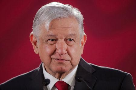 FILE PHOTO:  Mexico's President Andres Manuel Lopez Obrador speaks to the media during a news conference at the National Palace