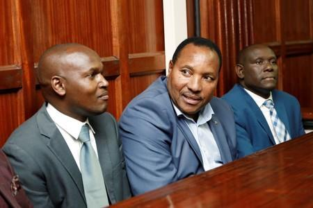 Kiambu county governor Ferdinand Waititu sits in the dock as he appears in court on corruption-related charges, at the Milimani Law Courts in Nairobi