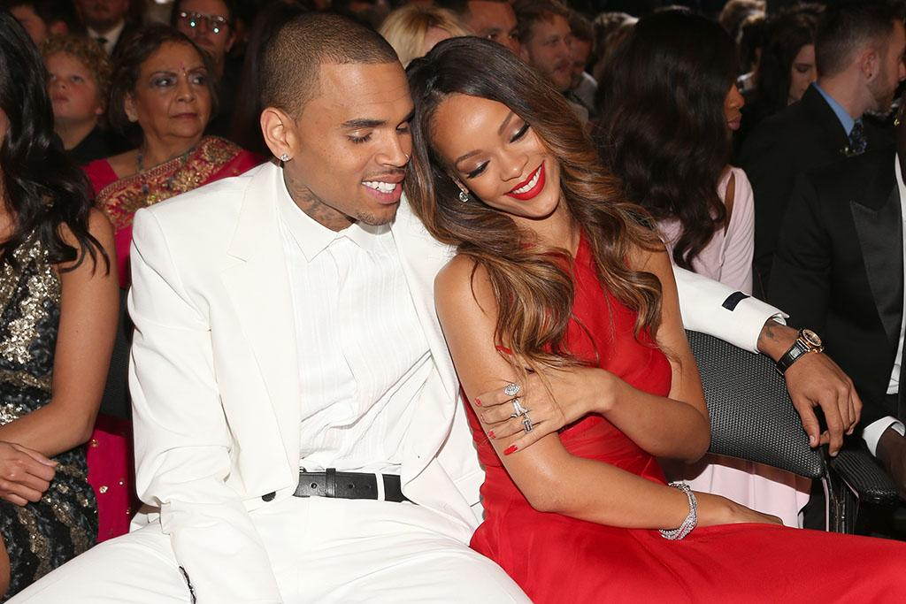 Chris Brown and Rihanna at the 55th Annual Grammy Awards at the Staples Center in Los Angeles, CA on February 10, 2013.
