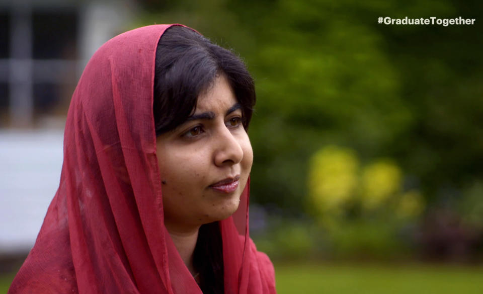 UNSPECIFIED - MAY 16: In this screengrab, Malala Yousafzai speaks during Graduate Together: America Honors the High School Class of 2020 on May 16, 2020. (Photo by Getty Images/Getty Images for EIF & XQ)