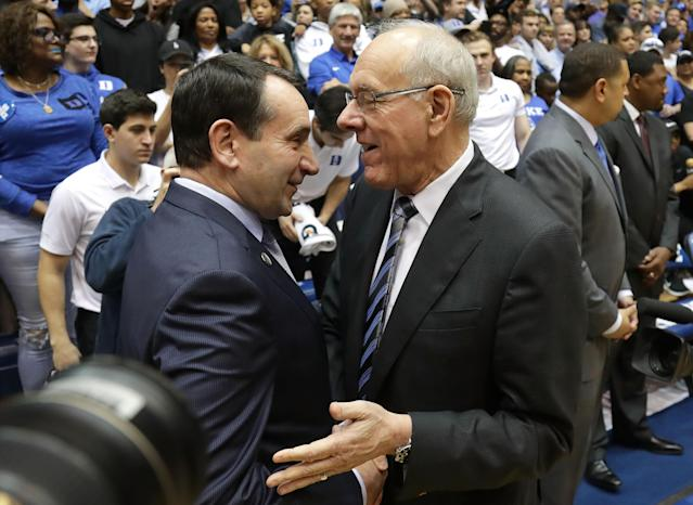 Mike Krzyzewski's Duke and Jim Boeheim's Syracuse will duel in the Sweet 16. (Getty)