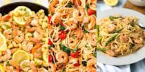 """<p>Prawns and pasta pretty much go hand-in-hand, and we can't get enough of 'em. Which is why we've pulled together a delicious-tasting round up of our favourite prawn pasta recipes. We're talking <a href=""""https://www.delish.com/uk/cooking/recipes/a30219265/creamy-shrimp-linguine-tomatoes-kale-lemon-zest-recipe/"""" rel=""""nofollow noopener"""" target=""""_blank"""" data-ylk=""""slk:Creamy Prawn Linguine"""" class=""""link rapid-noclick-resp"""">Creamy Prawn Linguine</a>, <a href=""""https://www.delish.com/uk/cooking/recipes/a29482679/easy-shrimp-pasta-alfredo-recipe/"""" rel=""""nofollow noopener"""" target=""""_blank"""" data-ylk=""""slk:Prawn Fettuccine Alfredo"""" class=""""link rapid-noclick-resp"""">Prawn Fettuccine Alfredo</a>, <a href=""""https://www.delish.com/uk/cooking/recipes/a32808431/bruschetta-shrimp-pasta-recipe/"""" rel=""""nofollow noopener"""" target=""""_blank"""" data-ylk=""""slk:Bruschetta Prawn Pasta"""" class=""""link rapid-noclick-resp"""">Bruschetta Prawn Pasta</a> and more! (Drooling yet?). For a selection of super-easy prawn pasta recipes, keep reading...</p><p>Looking for more <a href=""""https://www.delish.com/uk/cooking/recipes/g33432952/best-pasta-recipes/"""" rel=""""nofollow noopener"""" target=""""_blank"""" data-ylk=""""slk:easy pasta recipes"""" class=""""link rapid-noclick-resp"""">easy pasta recipes</a>? We've got those, too. </p>"""
