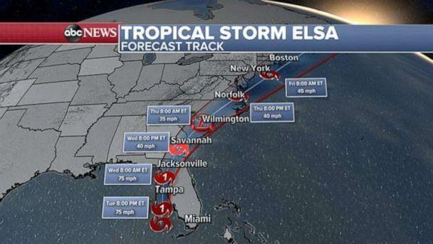PHOTO: Elsa will bring impacts such as rain and wind up into the Mid-Atlantic and Northeast by the end of the week. (ABC News)