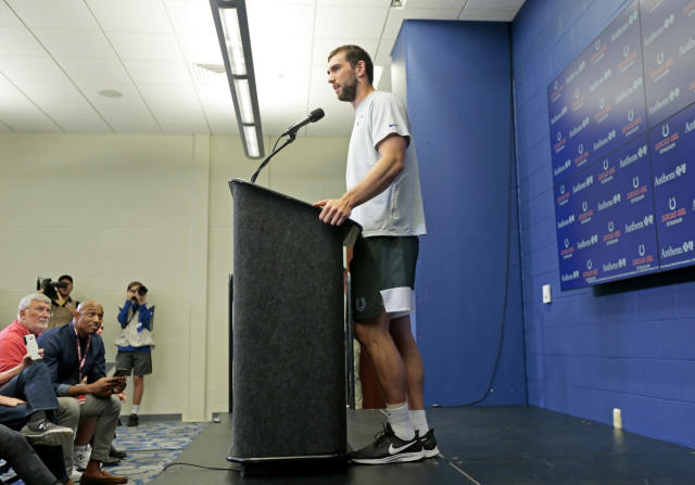 Indianapolis Colts quarterback Andrew Luck speaks during a news conference following the team's NFL preseason football game against the Chicago Bears, Saturday, Aug. 24, 2019, in Indianapolis. The oft-injured star is retiring at age 29. (AP Photo/AJ Mast)