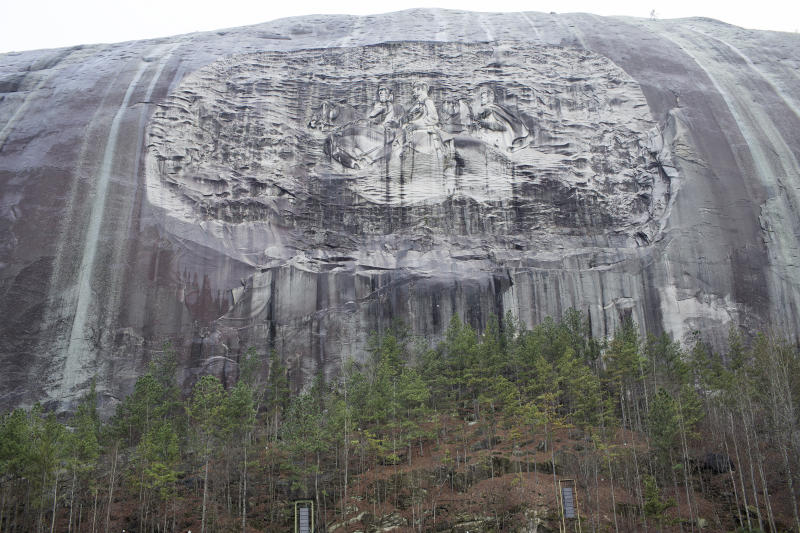 STONE MOUNTAIN, GA - FEBRUARY 3: The largest confederate memorial in America is carved out of the rock at Stone Mountain Park, as seen on February 3, 2019 in Stone Mountain, Georgia. The site is linked to many Klu Klux Klan gatherings and the state of Georgia's resistance to the Civil Rights movement in the 1950's and 1960's. (Photo by Andrew Lichtenstein/Corbis via Getty Images)