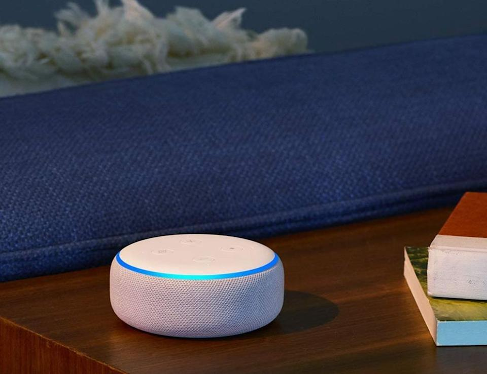 "The Echo Dot is a <i>very</i> popular product, with more than 500,000 reviews. It's ""<a href=""https://www.huffpost.com/topic/in-its-prime"" target=""_blank"" rel=""noopener noreferrer"">In Its Prime,</a>"" as we like to say. The speaker can stream Spotify, Apple Music and more. You can also use it to have Alexa do tasks for you. <a href=""https://amzn.to/2HdbTSW"" target=""_blank"" rel=""noopener noreferrer"">Find it on sale for $30 at Amazon</a>. Keep in mind that it's on backorder until December."
