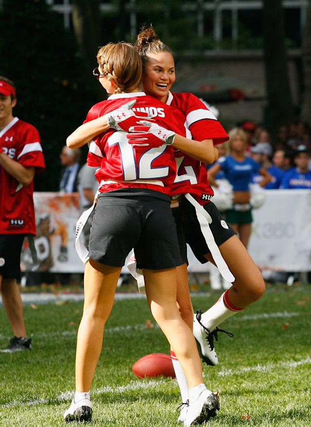 NEW YORK, NY - JULY 27: Maria Menounos (L) and model Chrissy Teigen participate in the Madden NFL 12 Pigskin Pro-Am at Bryant Park on July 27, 2011 in New York City. (Photo by Andy Marlin/Getty Images for EA Sports)