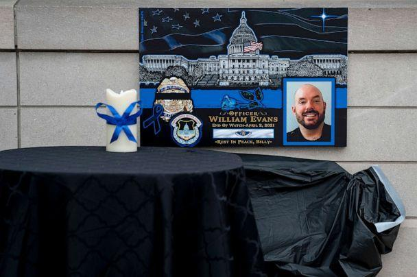 PHOTO: A memorial for Officer William Evans is displayed at the entrance to the U.S. Capitol grounds, April 13, 2021, in Washington, D.C.  (Stefani Reynolds/Getty Images)