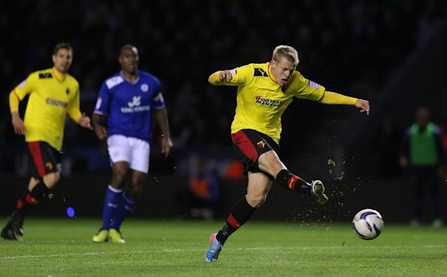 Watford's Matej Vydra misses a chance on goal during the npower Championship, Play-Off Semi Final, First Leg match at the Walkers Stadium, Leicester.