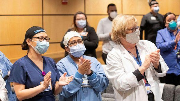 PHOTO: Hospital workers at Elmhurst Hospital in Queens, N.Y., were celebrated with free trips, May 8, 2020, courtesy of Hyatt and American Airlines. (Courtesy Hyatt)