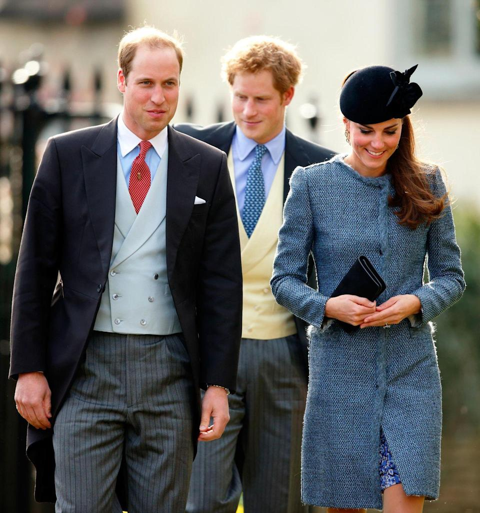 """<p>There's a funny story about this wearing of the coat: Kate wore it to attend the wedding of Lucy Meade and Charlie Budgett, and <a href=""""http://www.gettyimages.com/license/481368353"""" rel=""""nofollow noopener"""" target=""""_blank"""" data-ylk=""""slk:another guest"""" class=""""link rapid-noclick-resp"""">another guest</a> wore the exact same coat. OK, but who wore it better? </p>"""